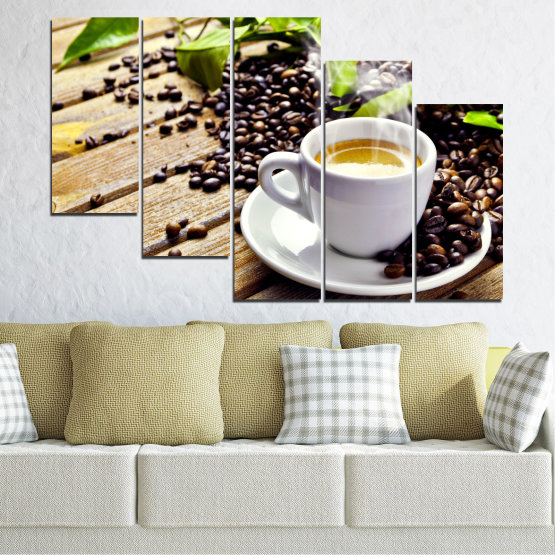 Canvas prints & wall decorative panels - 5 pieces №0304 » Brown, Black, Gray, Beige » Culinary, Coffee, Drink Form #7