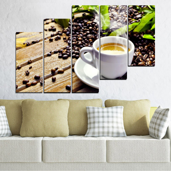 Canvas prints & wall decorative panels - 5 pieces №0304 » Brown, Black, Gray, Beige » Culinary, Coffee, Drink Form #8