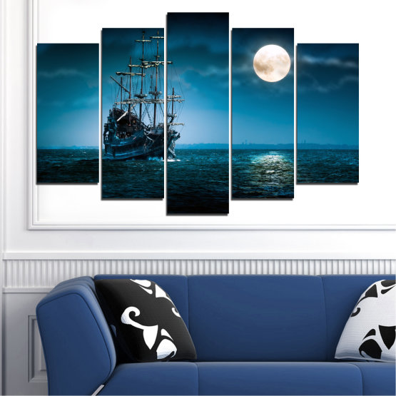 Canvas prints & wall decorative panels - 5 pieces №0305 » Blue, Black, Dark grey » Sea, Water, Ship, Moon, Night Form #1
