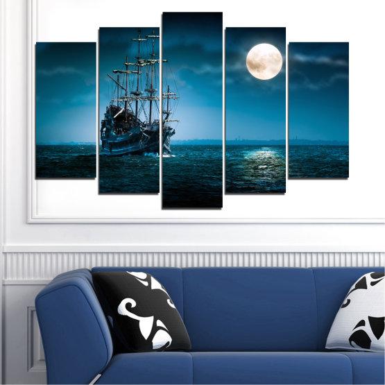 Декоративни панели и картини от канава - от 5 части №0305 » Син, Черен, Тъмно сив » Море, Вода, Кораб, Луна, Нощ Form #1