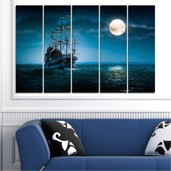 Canvas prints & wall decorative panels - 5 pieces №0305 » Blue, Black, Dark grey » Sea, Water, Ship, Moon, Night Form #2