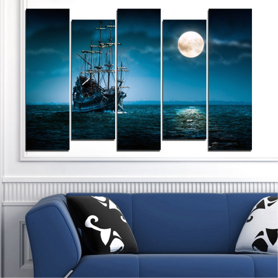 Canvas prints & wall decorative panels - 5 pieces №0305 » Blue, Black, Dark grey » Sea, Water, Ship, Moon, Night Form #3