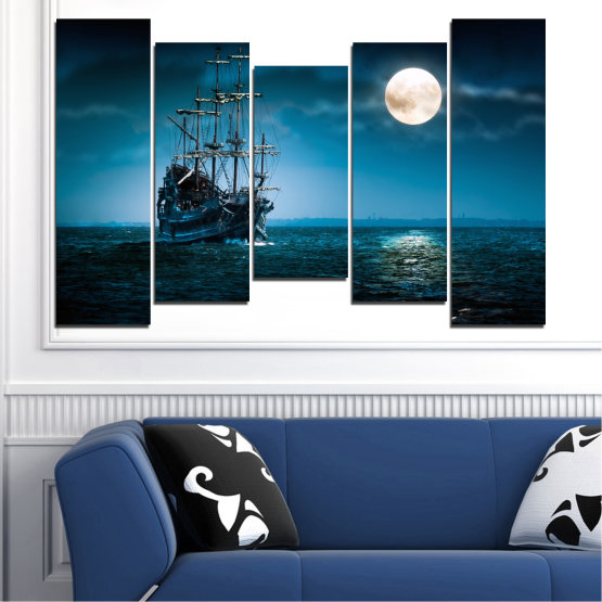 Canvas prints & wall decorative panels - 5 pieces №0305 » Blue, Black, Dark grey » Sea, Water, Ship, Moon, Night Form #4