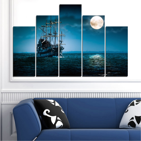 Canvas prints & wall decorative panels - 5 pieces №0305 » Blue, Black, Dark grey » Sea, Water, Ship, Moon, Night Form #5