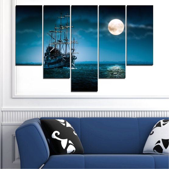 Canvas prints & wall decorative panels - 5 pieces №0305 » Blue, Black, Dark grey » Sea, Water, Ship, Moon, Night Form #6