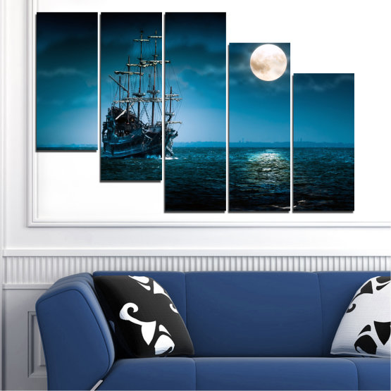 Canvas prints & wall decorative panels - 5 pieces №0305 » Blue, Black, Dark grey » Sea, Water, Ship, Moon, Night Form #7