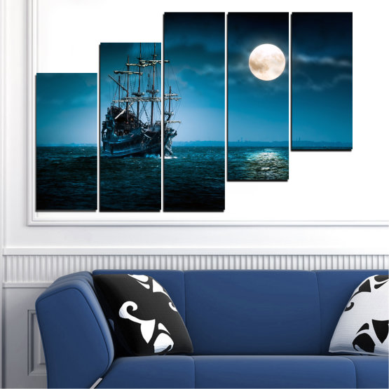 Canvas prints & wall decorative panels - 5 pieces №0305 » Blue, Black, Dark grey » Sea, Water, Ship, Moon, Night Form #8