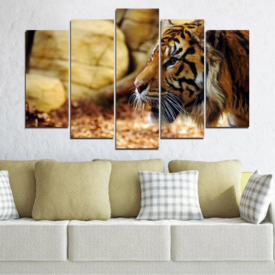 Canvas prints & wall decorative panels - 5 pieces №0306 » Green, Brown, Black, Beige » Animal, Rocks, Tiger Form #1
