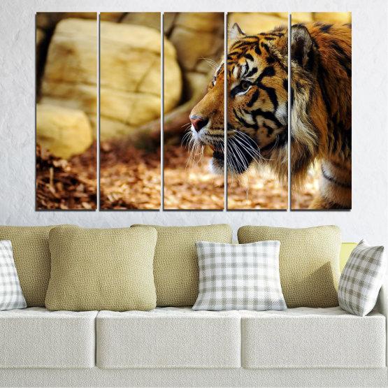 Canvas prints & wall decorative panels - 5 pieces №0306 » Green, Brown, Black, Beige » Animal, Rocks, Tiger Form #2