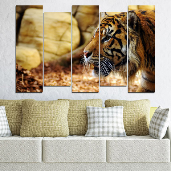 Canvas prints & wall decorative panels - 5 pieces №0306 » Green, Brown, Black, Beige » Animal, Rocks, Tiger Form #3
