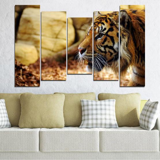Canvas prints & wall decorative panels - 5 pieces №0306 » Green, Brown, Black, Beige » Animal, Rocks, Tiger Form #4