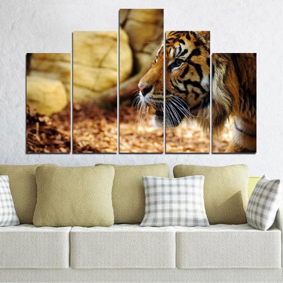 Canvas prints & wall decorative panels - 5 pieces №0306 » Green, Brown, Black, Beige » Animal, Rocks, Tiger Form #5