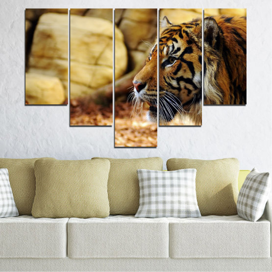 Canvas prints & wall decorative panels - 5 pieces №0306 » Green, Brown, Black, Beige » Animal, Rocks, Tiger Form #6