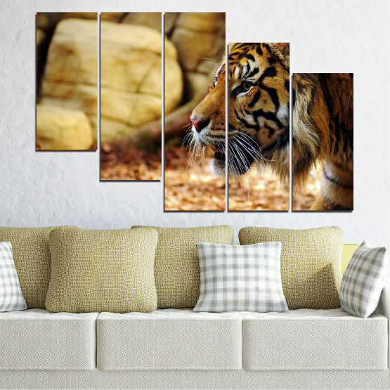 Canvas prints & wall decorative panels - 5 pieces №0306 » Green, Brown, Black, Beige » Animal, Rocks, Tiger Form #7