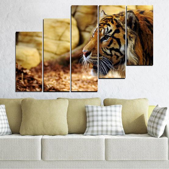 Canvas prints & wall decorative panels - 5 pieces №0306 » Green, Brown, Black, Beige » Animal, Rocks, Tiger Form #8