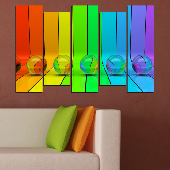 Canvas prints & wall decorative panels - 5 pieces №0307 » Blue, Green, Yellow, Orange » Abstraction, Reflection, Colorful, Sphere Form #3