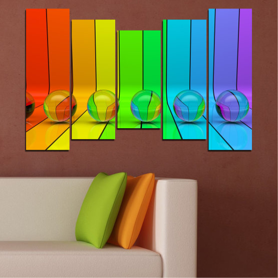 Canvas prints & wall decorative panels - 5 pieces №0307 » Blue, Green, Yellow, Orange » Abstraction, Reflection, Colorful, Sphere Form #4