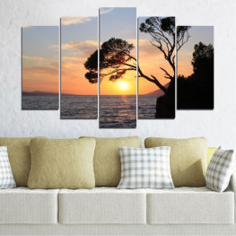 Water, Sunset, Sea, Tree, Bay, Rocks » Black, Gray, Beige, Dark grey