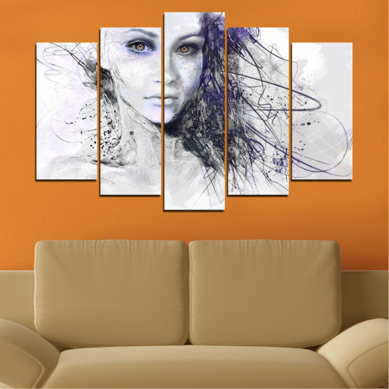 Декоративни панели и картини от канава - от 5 части №0309 » Сив, Бял, Тъмно сив » Жена, Рисунка, Мода, Портрет Form #1