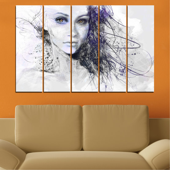 Декоративни панели и картини от канава - от 5 части №0309 » Сив, Бял, Тъмно сив » Жена, Рисунка, Мода, Портрет Form #2