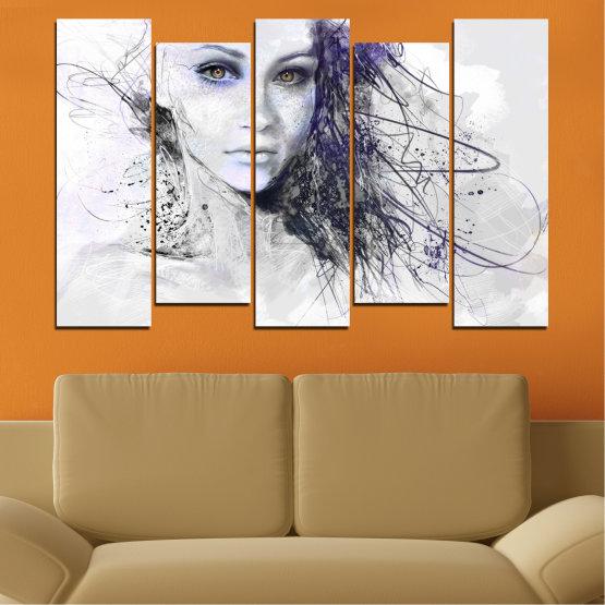 Декоративни панели и картини от канава - от 5 части №0309 » Сив, Бял, Тъмно сив » Жена, Рисунка, Мода, Портрет Form #3