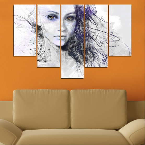 Декоративни панели и картини от канава - от 5 части №0309 » Сив, Бял, Тъмно сив » Жена, Рисунка, Мода, Портрет Form #6