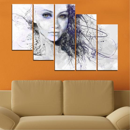 Декоративни панели и картини от канава - от 5 части №0309 » Сив, Бял, Тъмно сив » Жена, Рисунка, Мода, Портрет Form #7
