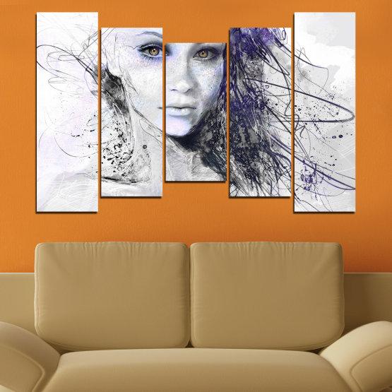 Декоративни панели и картини от канава - от 5 части №0309 » Сив, Бял, Тъмно сив » Жена, Рисунка, Мода, Портрет Form #4