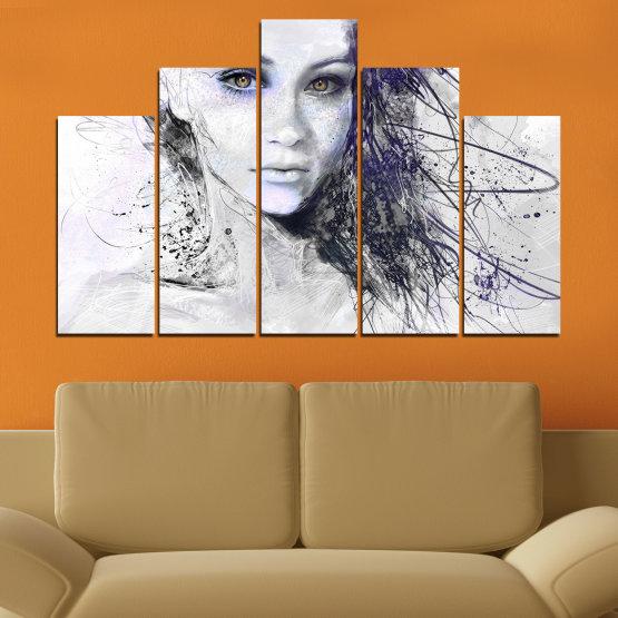 Декоративни панели и картини от канава - от 5 части №0309 » Сив, Бял, Тъмно сив » Жена, Рисунка, Мода, Портрет Form #5