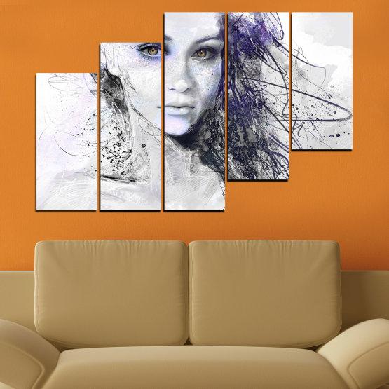 Декоративни панели и картини от канава - от 5 части №0309 » Сив, Бял, Тъмно сив » Жена, Рисунка, Мода, Портрет Form #8