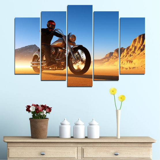 Canvas prints & wall decorative panels - 5 pieces №0031 » Blue, Turquoise, Yellow, Orange, Brown » Desert, Vehicle, Motor Form #1