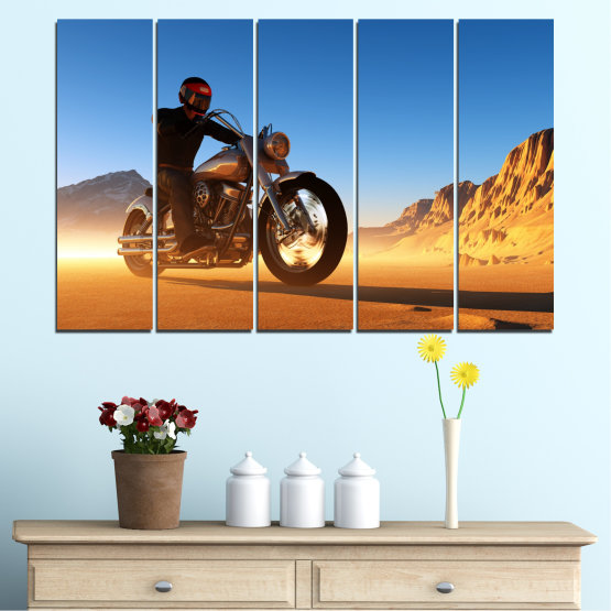 Canvas prints & wall decorative panels - 5 pieces №0031 » Blue, Turquoise, Yellow, Orange, Brown » Desert, Vehicle, Motor Form #2