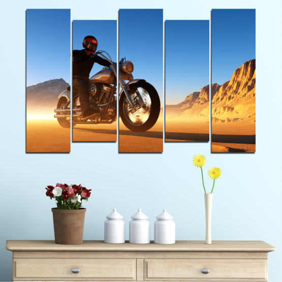 Canvas prints & wall decorative panels - 5 pieces №0031 » Blue, Turquoise, Yellow, Orange, Brown » Desert, Vehicle, Motor Form #3