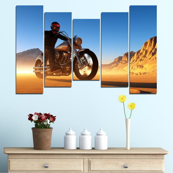 Canvas prints & wall decorative panels - 5 pieces №0031 » Blue, Turquoise, Yellow, Orange, Brown » Desert, Vehicle, Motor Form #4