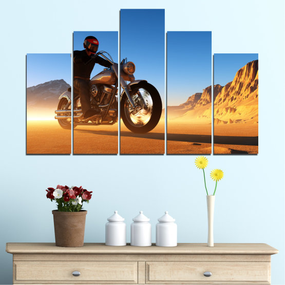 Canvas prints & wall decorative panels - 5 pieces №0031 » Blue, Turquoise, Yellow, Orange, Brown » Desert, Vehicle, Motor Form #5