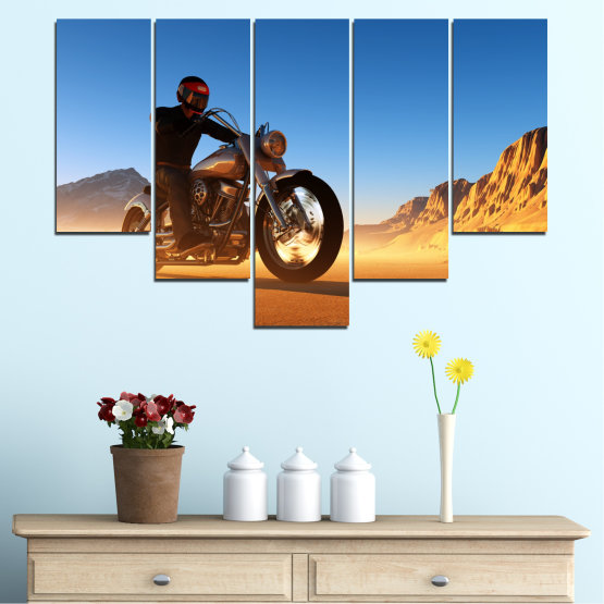 Canvas prints & wall decorative panels - 5 pieces №0031 » Blue, Turquoise, Yellow, Orange, Brown » Desert, Vehicle, Motor Form #6