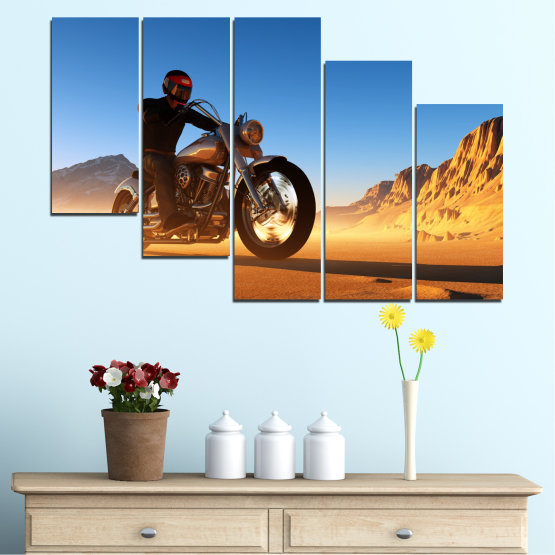 Canvas prints & wall decorative panels - 5 pieces №0031 » Blue, Turquoise, Yellow, Orange, Brown » Desert, Vehicle, Motor Form #7