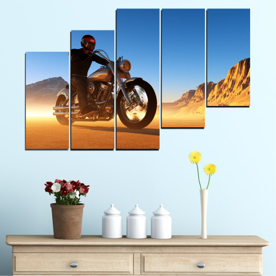Canvas prints & wall decorative panels - 5 pieces №0031 » Blue, Turquoise, Yellow, Orange, Brown » Desert, Vehicle, Motor Form #8