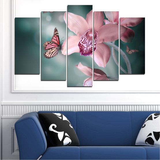 Декоративни панели и картини от канава - от 5 части №0310 » Черен, Сив, Млечно розов, Тъмно сив » Цветя, Орхидея, Пеперуда Form #1