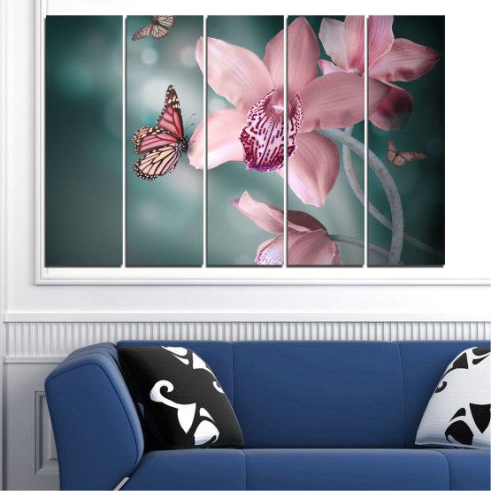 Декоративни панели и картини от канава - от 5 части №0310 » Черен, Сив, Млечно розов, Тъмно сив » Цветя, Орхидея, Пеперуда Form #2