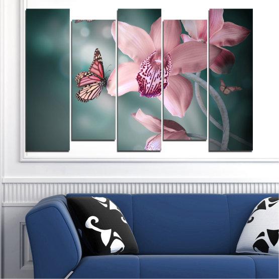Декоративни панели и картини от канава - от 5 части №0310 » Черен, Сив, Млечно розов, Тъмно сив » Цветя, Орхидея, Пеперуда Form #3