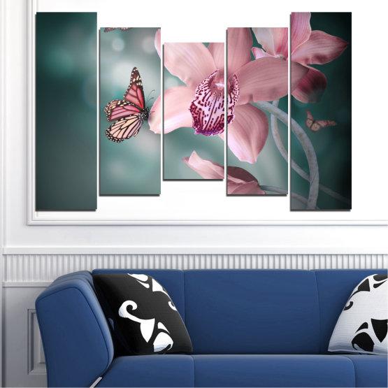 Декоративни панели и картини от канава - от 5 части №0310 » Черен, Сив, Млечно розов, Тъмно сив » Цветя, Орхидея, Пеперуда Form #4
