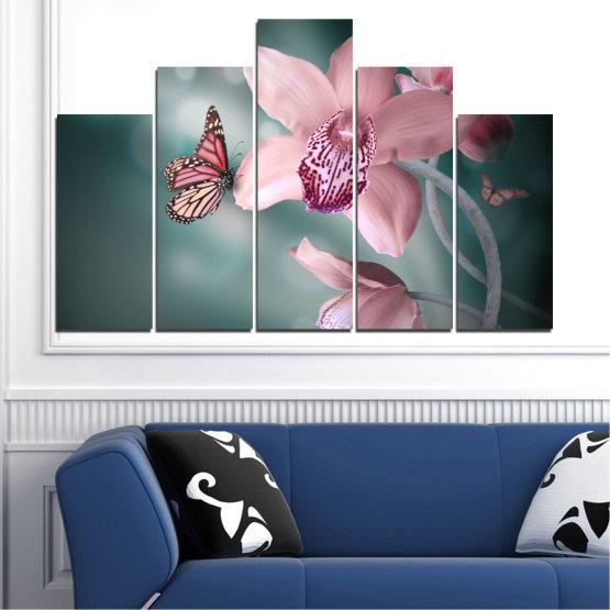 Декоративни панели и картини от канава - от 5 части №0310 » Черен, Сив, Млечно розов, Тъмно сив » Цветя, Орхидея, Пеперуда Form #5