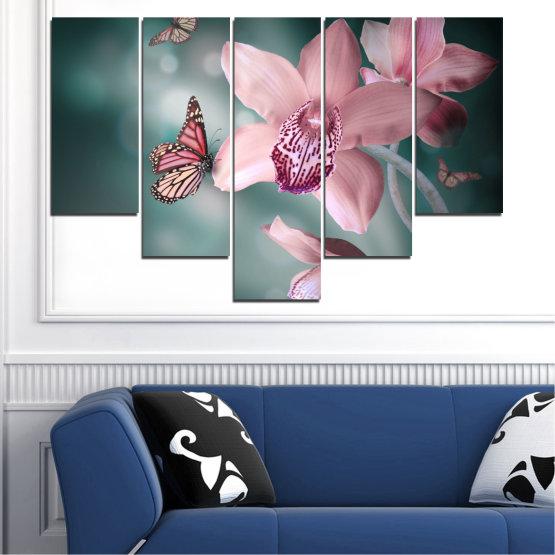 Декоративни панели и картини от канава - от 5 части №0310 » Черен, Сив, Млечно розов, Тъмно сив » Цветя, Орхидея, Пеперуда Form #6