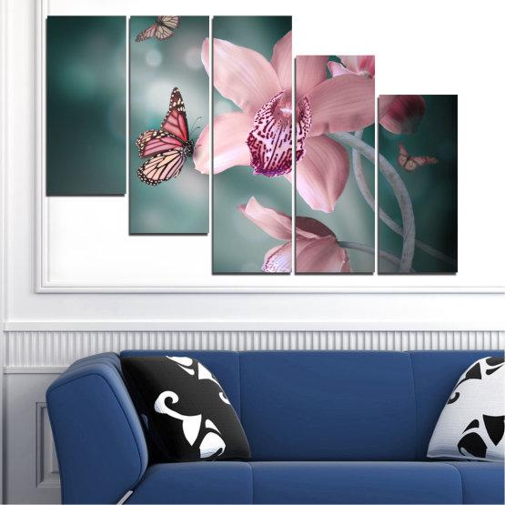 Декоративни панели и картини от канава - от 5 части №0310 » Черен, Сив, Млечно розов, Тъмно сив » Цветя, Орхидея, Пеперуда Form #7