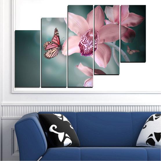 Декоративни панели и картини от канава - от 5 части №0310 » Черен, Сив, Млечно розов, Тъмно сив » Цветя, Орхидея, Пеперуда Form #8