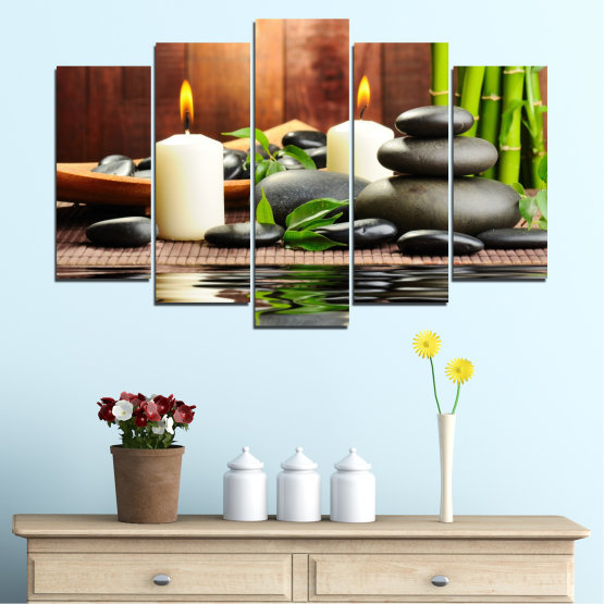 Canvas prints & wall decorative panels - 5 pieces №0311 » Brown, Black, Gray, Dark grey » Feng shui, Water, Stones, Zen, Bamboo, Candle, Manga Form #1