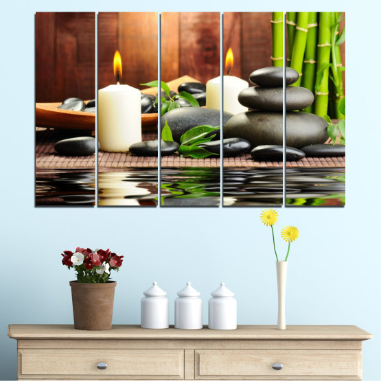Canvas prints & wall decorative panels - 5 pieces №0311 » Brown, Black, Gray, Dark grey » Feng shui, Water, Stones, Zen, Bamboo, Candle, Manga Form #2