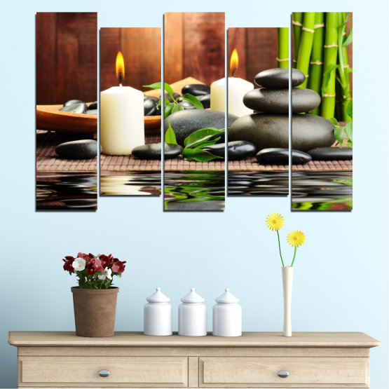 Canvas prints & wall decorative panels - 5 pieces №0311 » Brown, Black, Gray, Dark grey » Feng shui, Water, Stones, Zen, Bamboo, Candle, Manga Form #3