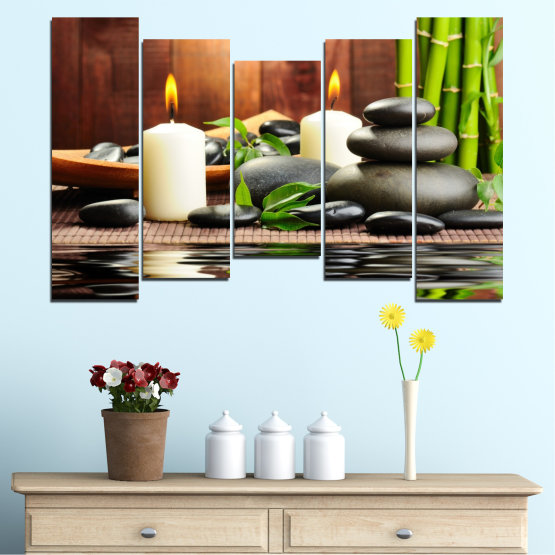 Canvas prints & wall decorative panels - 5 pieces №0311 » Brown, Black, Gray, Dark grey » Feng shui, Water, Stones, Zen, Bamboo, Candle, Manga Form #4